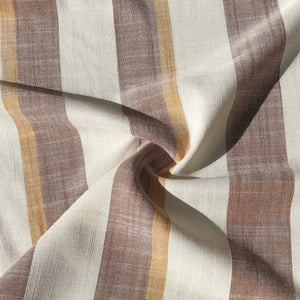 "56"" Cotton Linen & Rayon Striped Burgundy Red White Yellow Apparel Woven Fabric By the Yard - APC Fabrics"