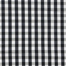 "Load image into Gallery viewer, 58"" Cotton Poplin Spandex Lycra Stretch 5 OZ Plaid Gingham Checkered Black White & Gray Woven Fabric By the Yard - APC Fabrics"