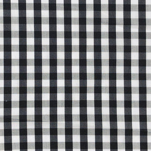 "58"" Cotton Poplin Spandex Lycra Stretch 5 OZ Plaid Gingham Checkered Black White & Gray Woven Fabric By the Yard - APC Fabrics"