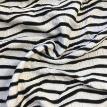 "Load image into Gallery viewer, 52"" Rayon Spandex Lycra Stretch Black & White Ikat Chevron Diagonal Striped Jacquard Knit Fabric By the Yard - APC Fabrics"