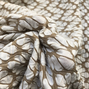 "64"" Rayon Spandex Lycra Stretch Khaki Beige & White Ikat Leaf Floral Check Jacquard Knit Fabric By the Yard - APC Fabrics"