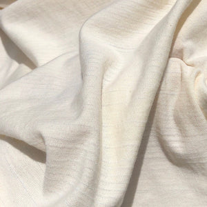"58"" PFD Organic Cotton Striped Laundered Mechanic Stretch Ivory White Apparel Knit Fabric By the Yard - APC Fabrics"