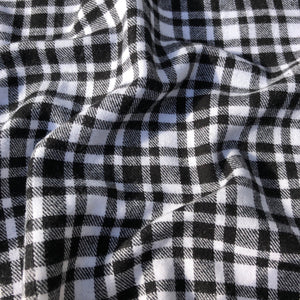 "60"" 100% Cotton Flannel Checkered Gingham Black White & Gray Woven Fabric By the Yard - APC Fabrics"