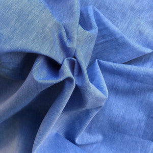 "58"" 100% Pima Cotton Chambray Voile Baby Blue Light Woven Fabric By the Yard - APC Fabrics"