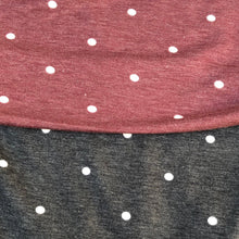 "Load image into Gallery viewer, 52"" French Terry Cotton Blend Polka Dot Burgundy Red & Charcoal Gray Apparel Knit Fabric By the Yard - APC Fabrics"