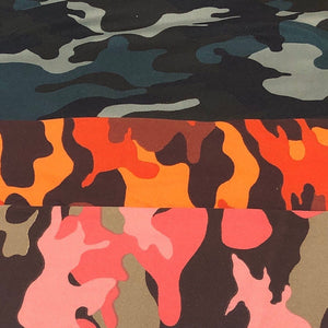 "60"" 100% Polyester 6 OZ Camoflauge Camouflage Camo Print Green, Orange, Pink, Apparel & Face Mask Woven Fabric By the Yard - APC Fabrics"