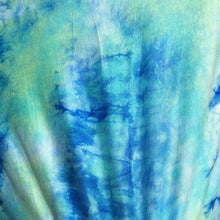 "Load image into Gallery viewer, 60"" Modal & Spandex Stretch Tie Dyed Blue Green White Apparel & Face Mask Jersey Knit Fabric By the Yard"