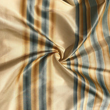 "Load image into Gallery viewer, 56"" 100% Silk Gold Yellow Blue Striped 5 OZ Woven Fabric By the Half Yard"