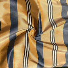 "Load image into Gallery viewer, 56"" 100% Silk Gold Yellow Blue & White Striped 5 OZ Woven Fabric By the Half Yard"