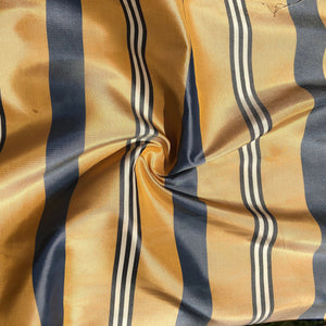"56"" 100% Silk Gold Yellow Blue & White Striped 5 OZ Woven Fabric By the Half Yard"