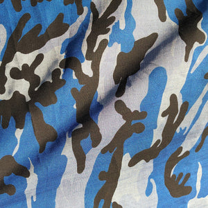 "60"" Blue Camouflage Cotton & Tencel Lyocell 6 OZ Chambray Blue Camo Print Apparel and Face Mask Fabric By the Yard"