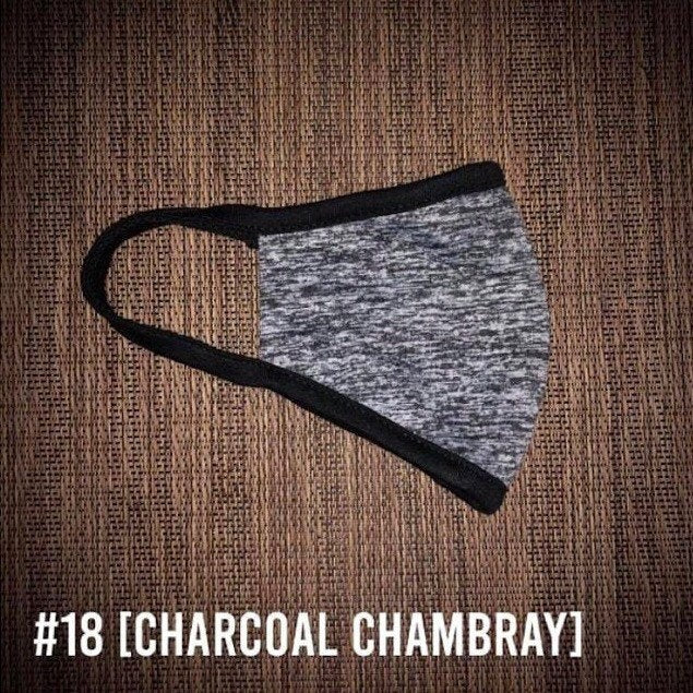 Charcoal Chambray Gray Space Dyed USA Made Face Mask & Face Wear Jersey Knit Spandex