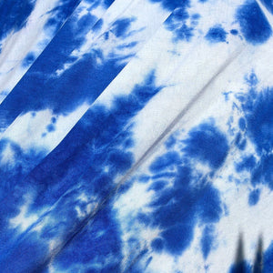 "60"" Modal & Spandex Lycra Stretch Tie Dyed Ocean Blue & White Apparel and Face Mask Jersey Knit Fabric By the Yard"