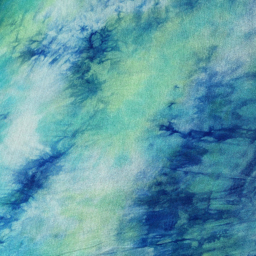 "60"" Cotton Modal Spandex Stretch Tie Dyed Blue Green White Apparel & Face Mask Jersey Knit Fabric By the Yard"