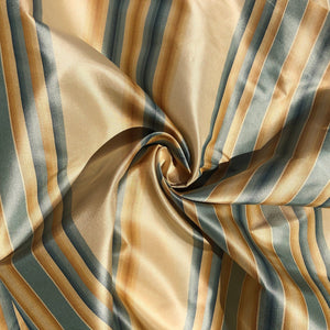 "56"" 100% Silk Gold Yellow Blue Striped 5 OZ Woven Fabric By the Half Yard"