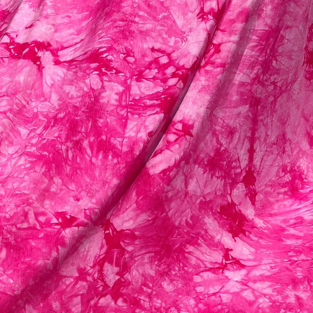 "60"" Bamboo & Spandex Stretch Tie Dyed Tie Dye Bright Pink White Cloud Apparel and Face Mask Jersey Knit Fabric By the Yard"