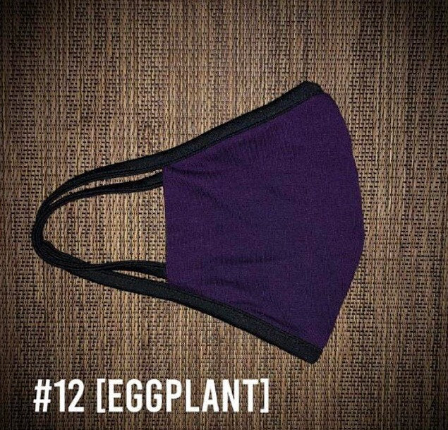 Eggplant Purple USA Made Face Mask & Face Wear Jersey Knit Spandex