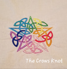 Load image into Gallery viewer, Rainbow Interwoven Pentacle Altar Cloth - The Crows Knot