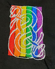 Load image into Gallery viewer, Medium Rainbow Urnes Snake Tarot/Rune Bag - Black - The Crows Knot