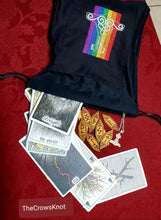 Load image into Gallery viewer, Large Mjolnir Thor's Hammer Rainbow Tarot/Rune Bag - Black - The Crows Knot