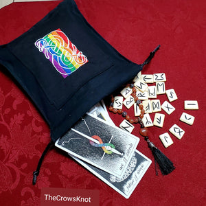 Large Rainbow Urnes Snake Tarot/Rune Bag - Black - The Crows Knot