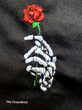Load image into Gallery viewer, Hand Embroidered Skeleton Rose in Hand Tarot/Rune Bag - The Crows Knot
