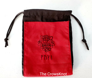 Hand Embroidered Loki Rune Bag - Red/Black - The Crows Knot