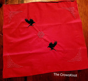 Pair of Crows with Celtic Knotwork Embroidered Altar Cloth *Morrigan* - The Crows Knot
