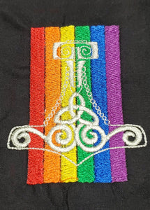 Large Mjolnir Thor's Hammer Rainbow Tarot/Rune Bag - Black - The Crows Knot