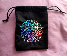 Load image into Gallery viewer, Rainbow Pentacle Tarot/Rune Bag - The Crows Knot