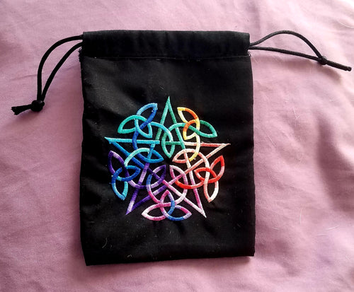 Rainbow Pentacle Tarot/Rune Bag - The Crows Knot