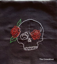 Load image into Gallery viewer, Skull and Roses * Hand-Embroidered* Altar Cloth * Wrap - The Crows Knot