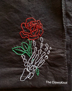 Skull and Roses * Hand-Embroidered* Altar Cloth * Wrap - The Crows Knot