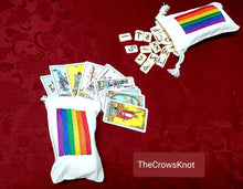 Load image into Gallery viewer, Small Pride Rainbow Rune/Mini Tarot Bags - The Crows Knot