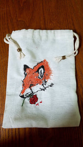 Fox Love Embroidered Tarot/Rune Bag - The Crows Knot