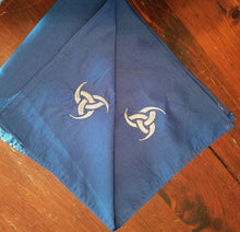 Load image into Gallery viewer, Blue/Silver Triple Horn Altar Cloth - The Crows Knot