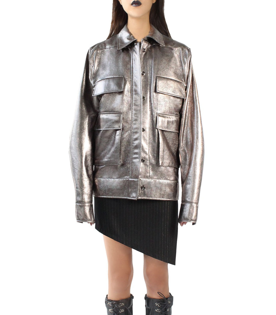 Metallic Oversized Army Jacket (Silver)