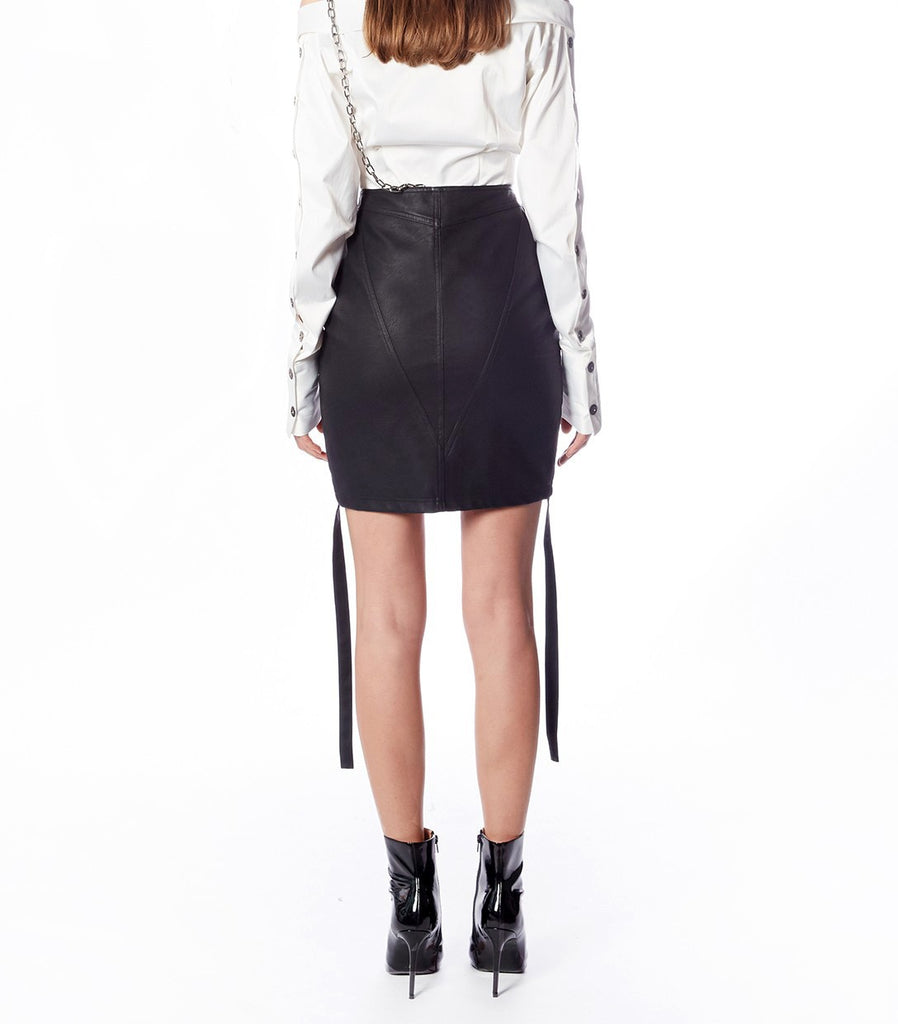 NIKITA Curved Hem Skirt (Black Leather)