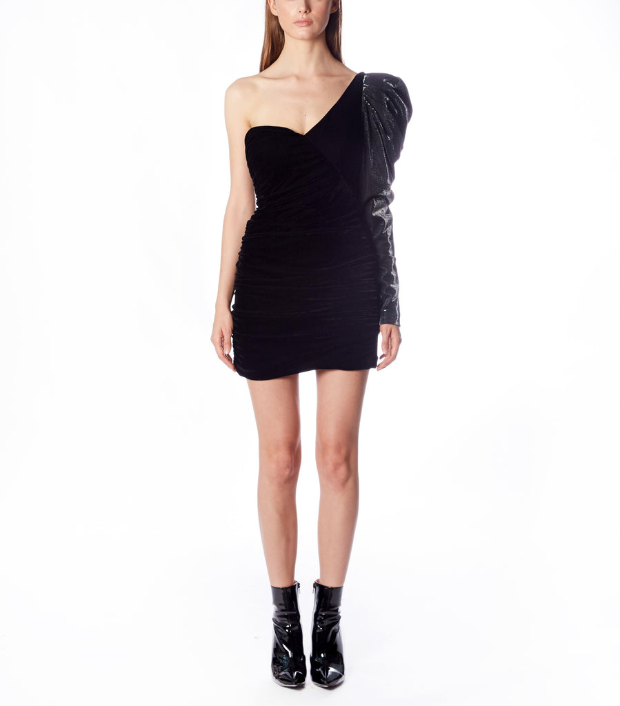 AZALEA One Shoulder Mutton Dress (Black Velvet and Dotted Lame)