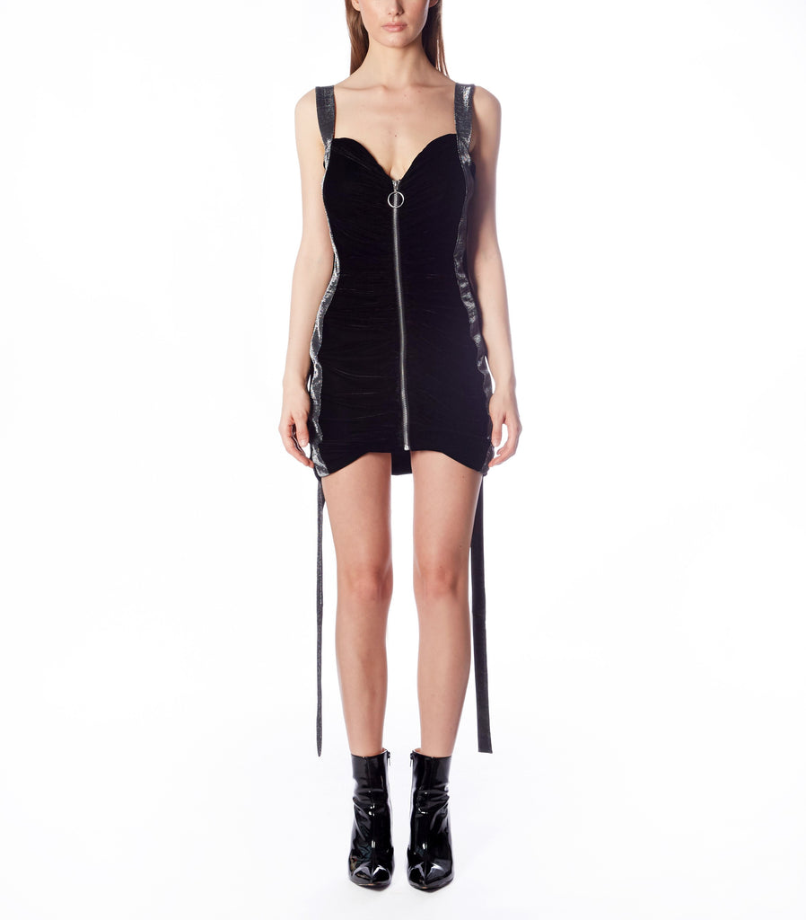 LIBERTINE Bustier Dress W/straps (Black Velvet and Dotted Lame)