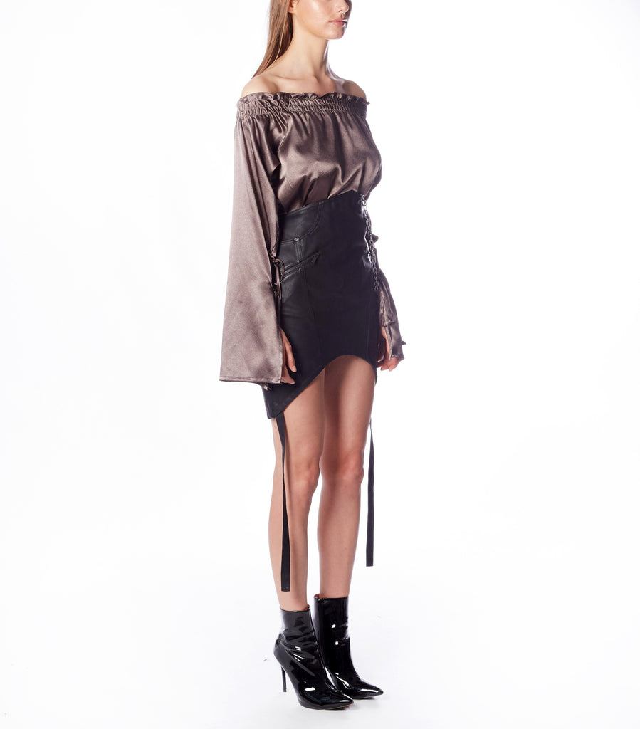 HERA One Shoulder Top (Gunmetal Silk)