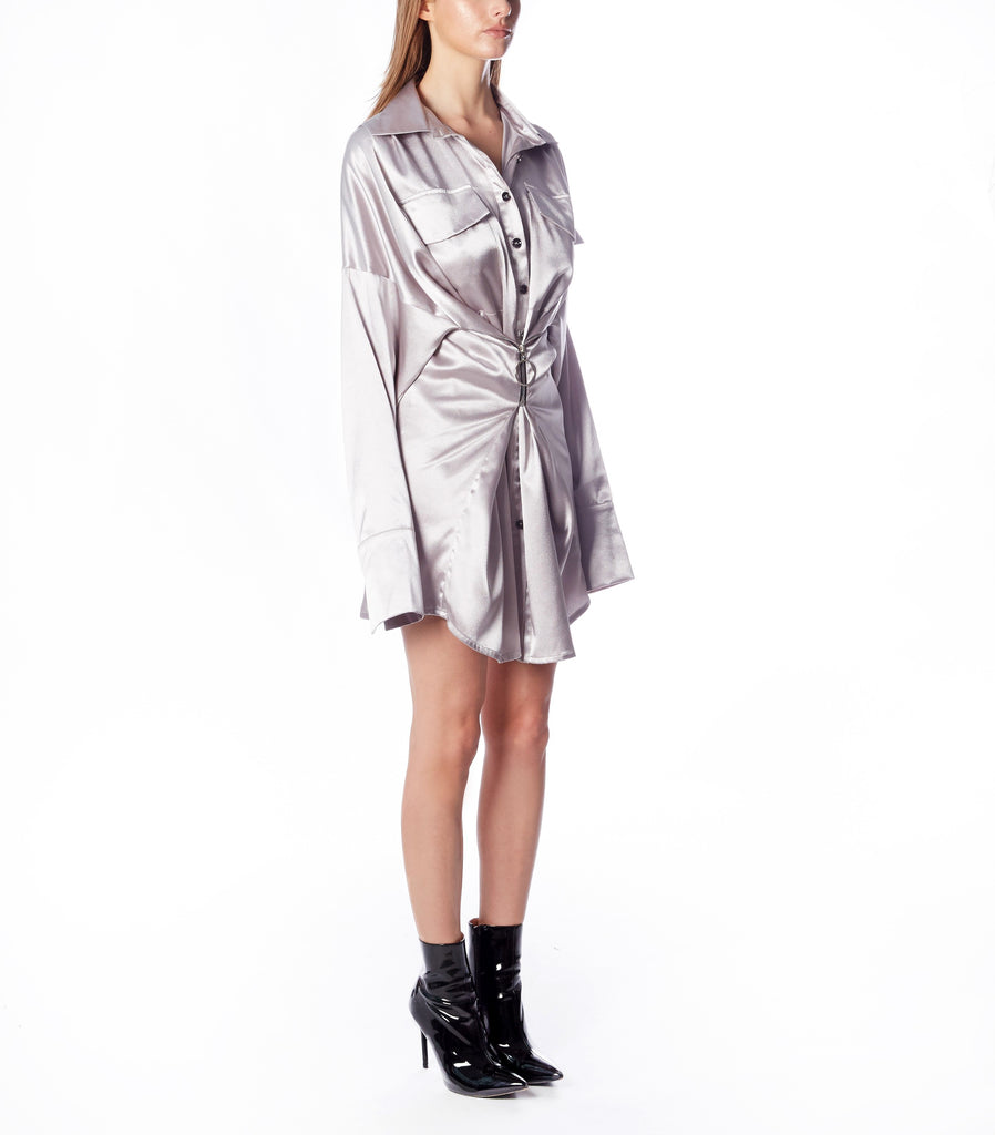 REVERIE Shirt Dress W/Zip (Silver Silk)