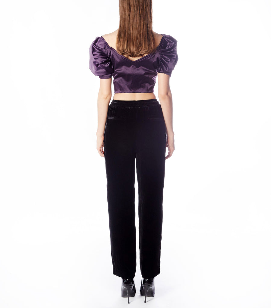 WREN Off-shoulder Waterfall Top  (Purple Satin)