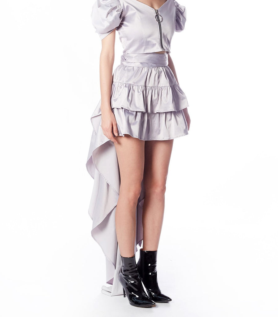 LIV Ruffle Mullet Skirt (Grey Satin)