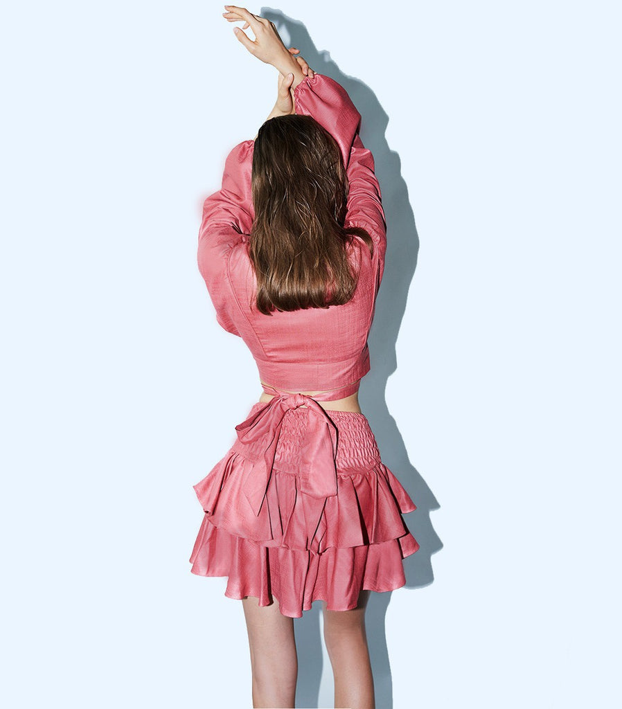 SUNRISE Tiered Ruffle Skirt (Coral)