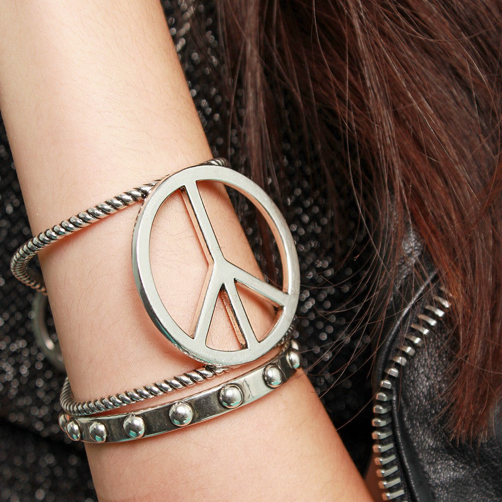 LOVE, PEACE, ROCK N' ROLL Cuff (Silver)