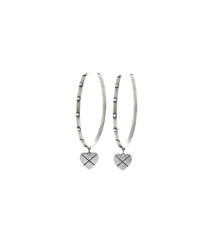 CROSS MY HEART Earrings (Silver)