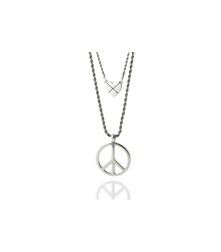 LOVE, PEACE, ROCK N' ROLL Necklace (Silver)