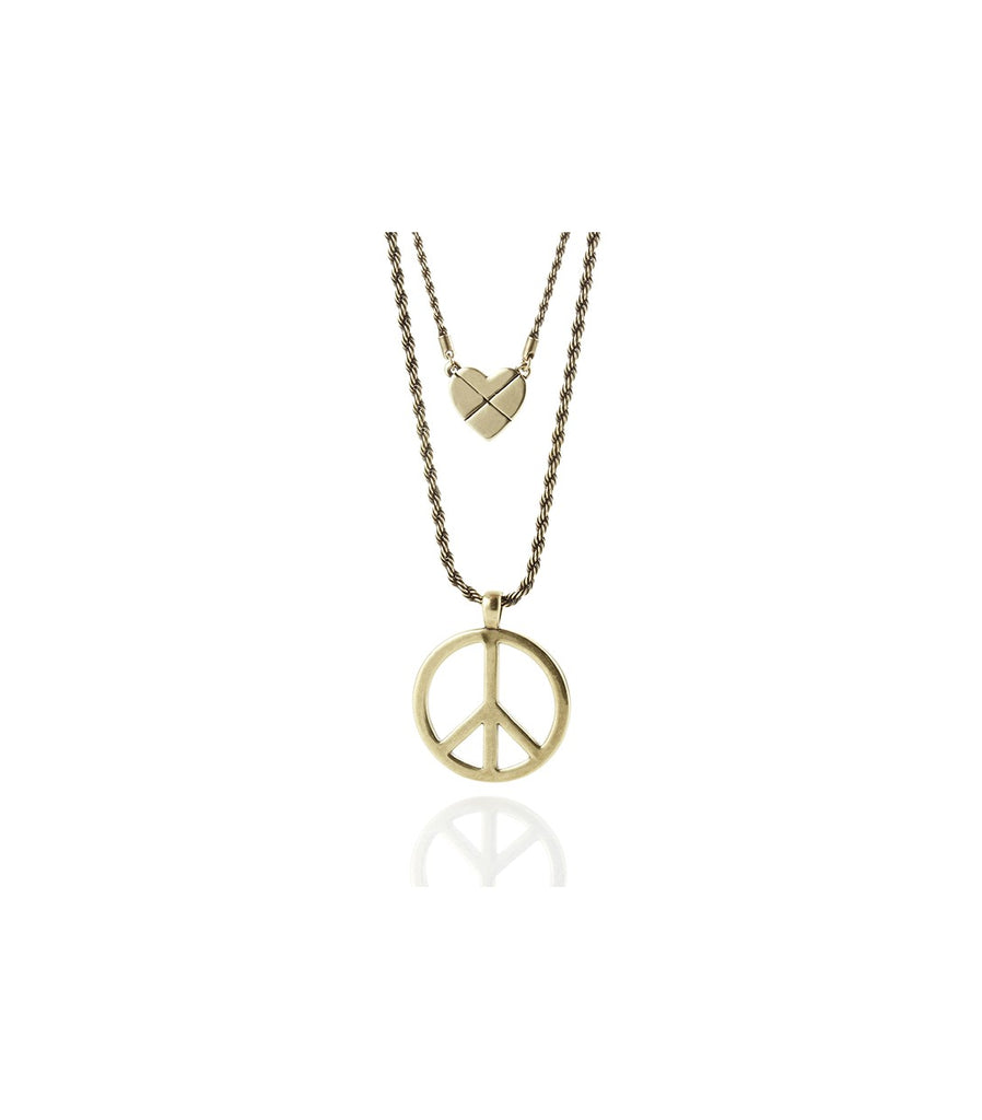 LOVE, PEACE, ROCK N' ROLL Necklace (Gold)