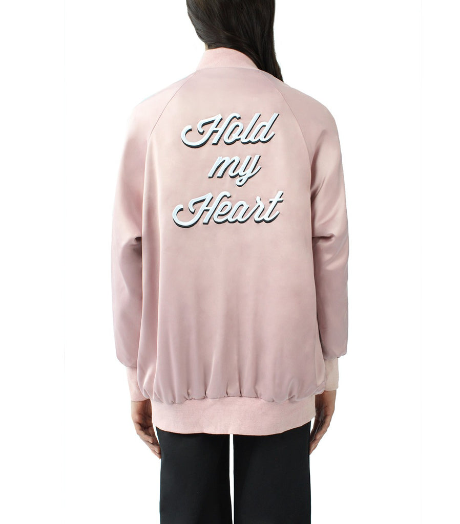 HOLD MY HEART Oversized Varsity Jacket (Dusty Pink)